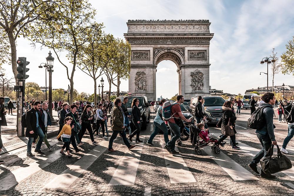 Pedestrians crossing street in France