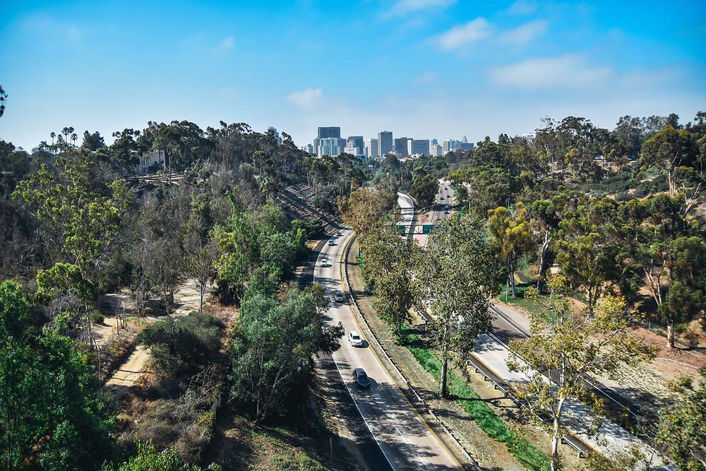 Highway snaking through LA hills