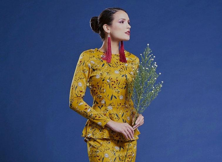 Baju kedah peplum floral baju hari raya