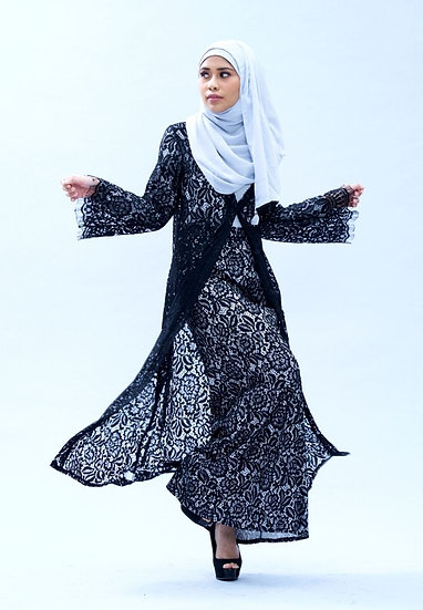 Lace Abaya modern baju kurung hari raya