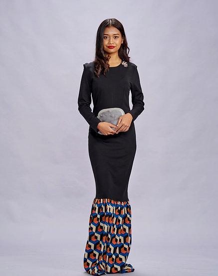 Black Maxi Dress with Geometric baju party wear
