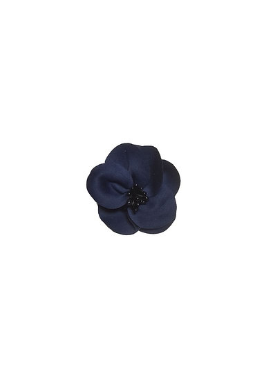 Navy flower textile brooch
