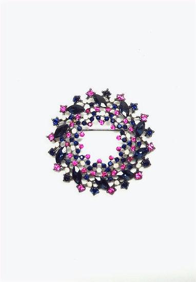 Pink & Black round Brooch with Black Velvet tie