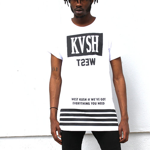 West Kvsh Logo Printed Side Zipper T-Shirt