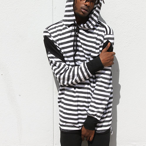EPTM. Stripe Zipper Hi-Lo Hoodie