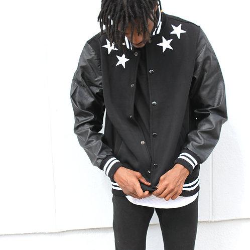 BM Fleece Varsity Jacket With Faux Leather Sleeves