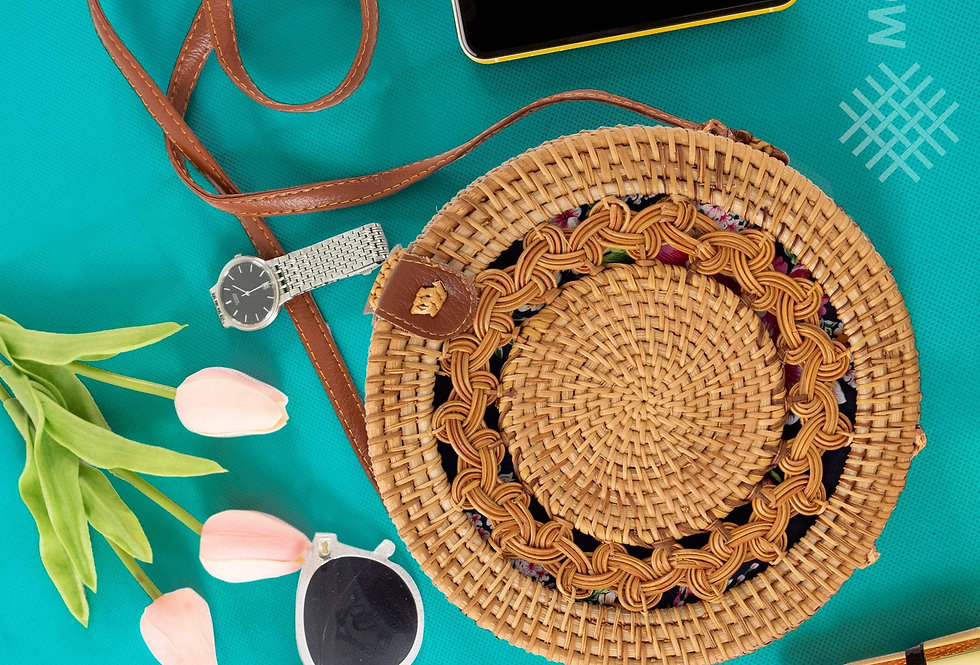 Round Rattan Bag   9- inch Summer Essential Straw Handbags for Women (Asian Drum