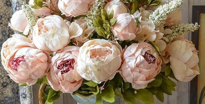 Beautiful Peony Faux Silk Flower Bouquet