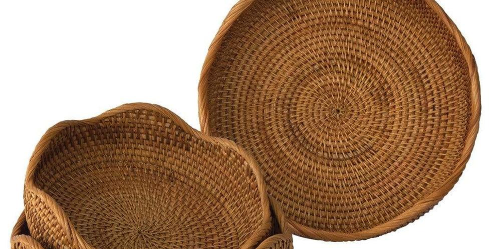 Rattan Wicker Woven Display Bowl for Fruit, Food, Bread Serving Basket | Rustic