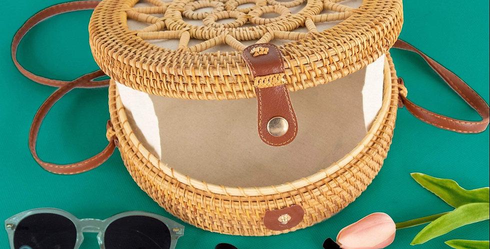 10-Inch Rattan Round Bag (Sun)   Summer Over-sized Crossbody Bag for Women