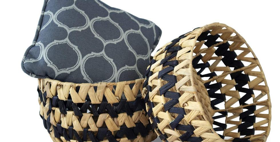 Nesting Round Wicker Storage Basket Bins (Set 2)   Decorative Basket Organizer H
