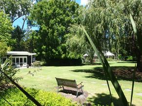 Located in a private corner of the garden