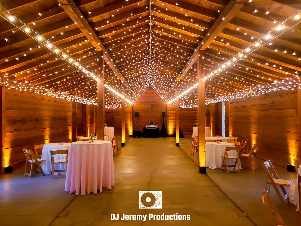 Cornerstone wedding barn uplights