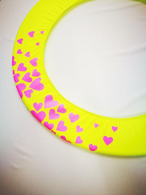 Copricerchio Art Glitter art.03121802-GRO-HEARTS giallo/rosa fluo