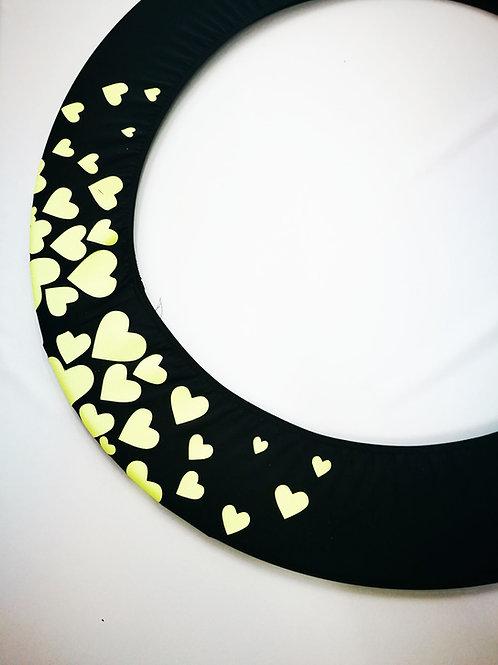 Copricerchio Art Glitter art.03121802-NGF-HEARTS nero/giallo fluo