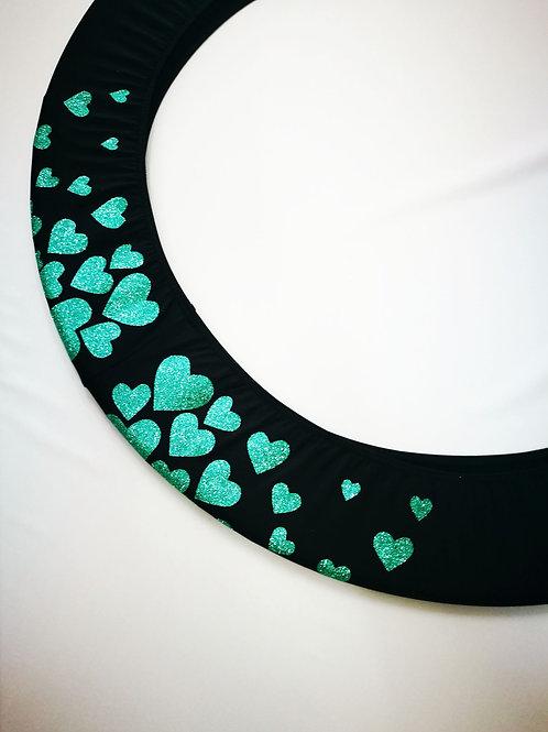 Copricerchio Art Glitter art.03121802-NTU-HEARTS nero/verde acqua