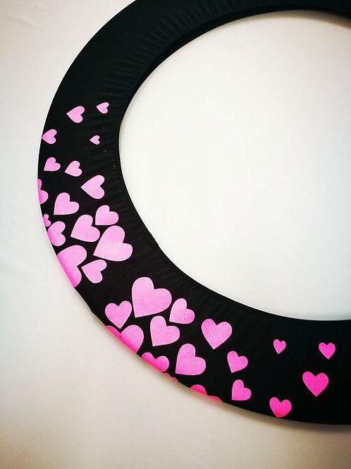 Copricerchio Art Glitter art.03121802-NRF-HEARTS nero/rosa fluo
