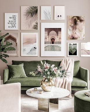 Beautiful Mediterranean gallery wall pink green posters golden frames.jpg