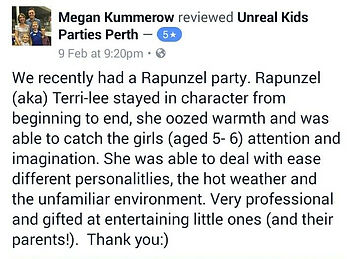 reviews on princess party performers in perth