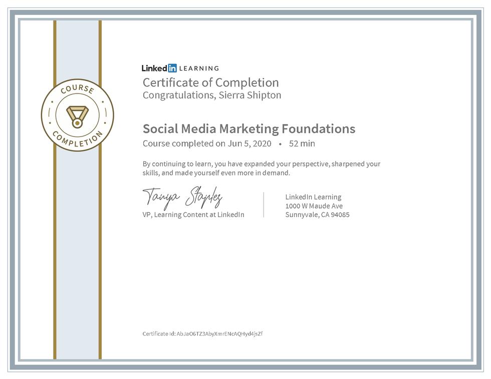 "LinkedIn Learning ""Social Media Marketing Foundations"" Certificate"