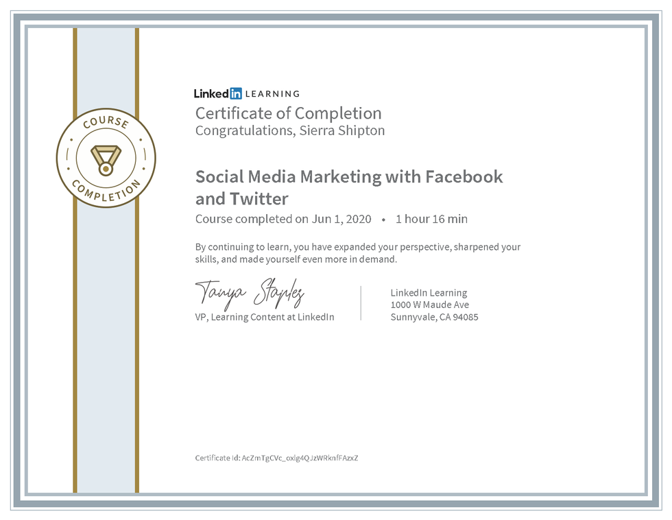 """LinkedIn Learning """"Social Media Marketing with Facebook and Twitter"""" Certificate"""