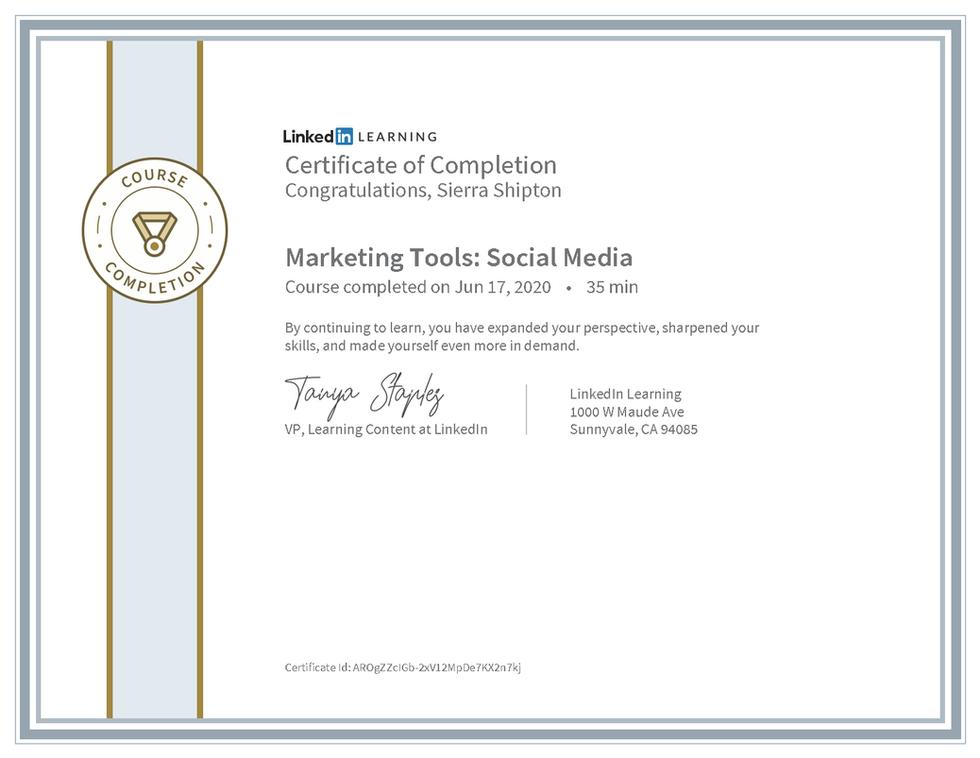 "LinkedIn Learning ""Marketing Tools: Social Media"" Certificate"