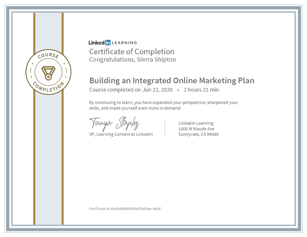 """LinkedIn Learning """"Building an Integrated Online Marketing Plan"""" Certificate"""