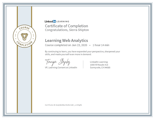 "LinkedIn Learning ""Learning Web Analytics"" Certificate"