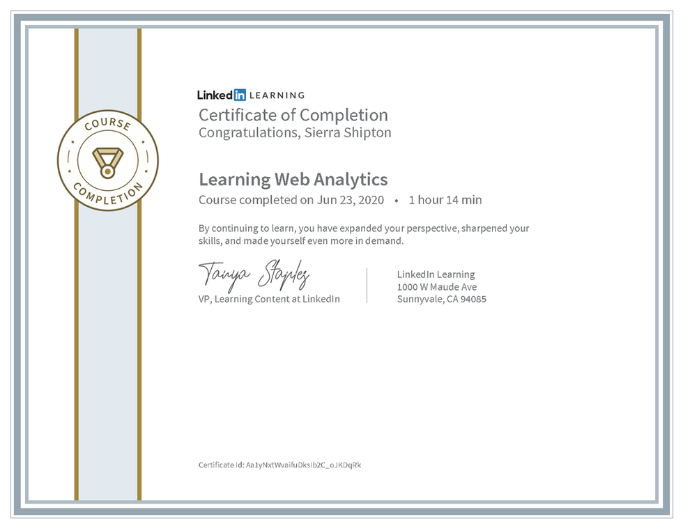 "LinkedIn Learning ""Learning Web Analytics"" Certificate"