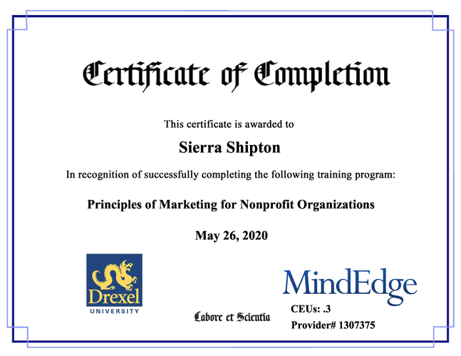 "Drexel University Continuing Education ""Principles of Marketing for Nonprofit Organizations"" Certificate"