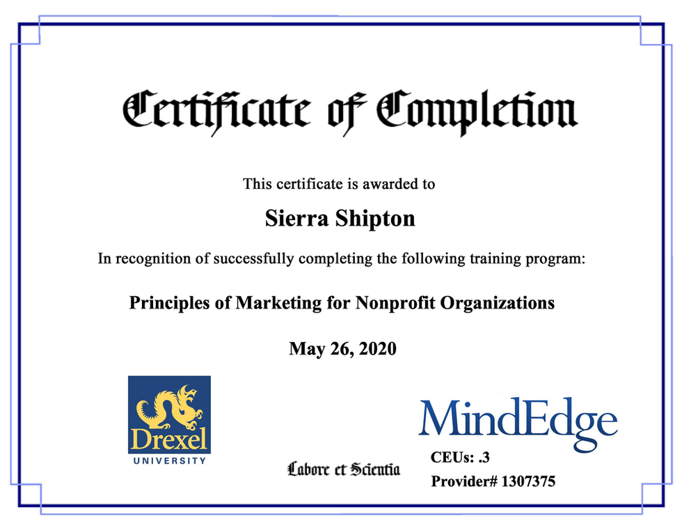 "Drexel University Continuing Education ""Principles of Marketing for Nonprofit Organizations"" Certificate"
