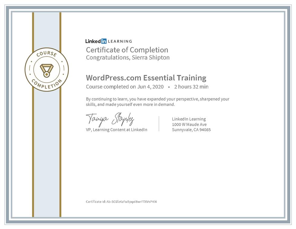 "LinkedIn Learning ""WordPress.com Essential Training"" Certificate"