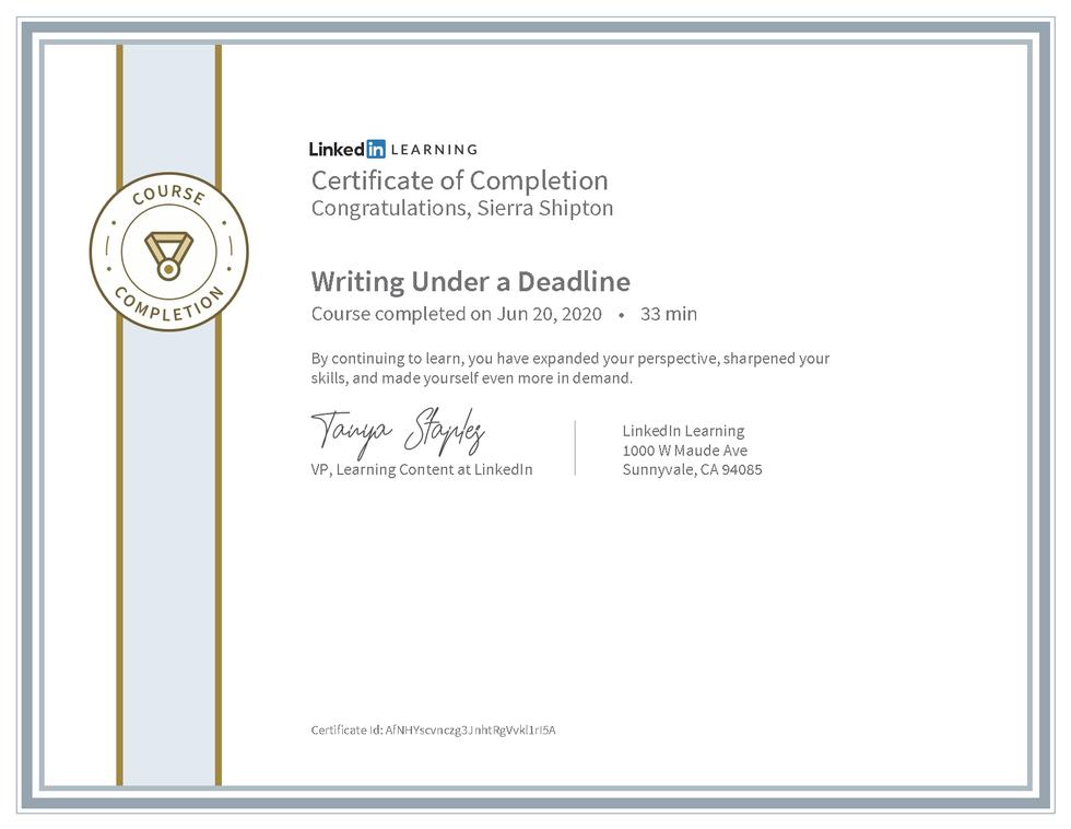 """LinkedIn Learning """"Writing Under a Deadline"""" Certificate"""