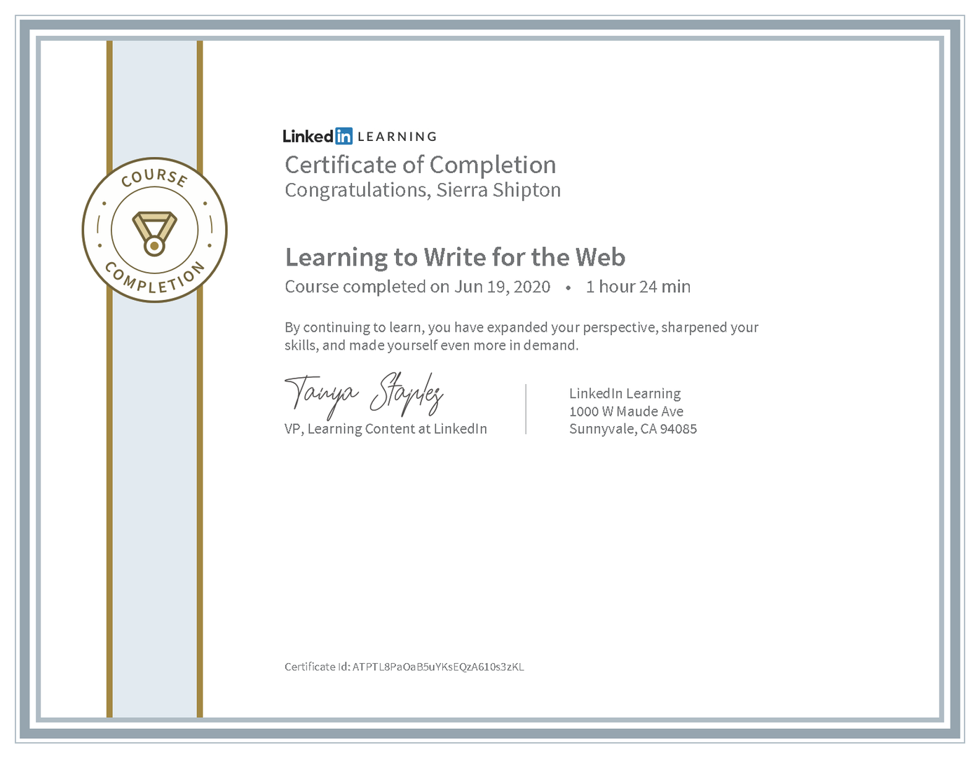 """LinkedIn Learning """"Learning to Write for the Web"""" Certificate"""