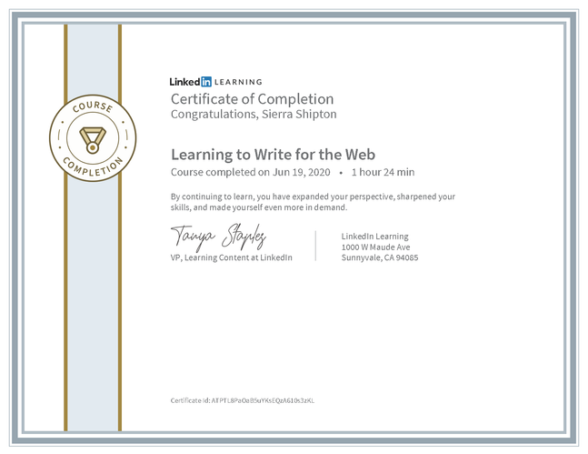 "LinkedIn Learning ""Learning to Write for the Web"" Certificate"