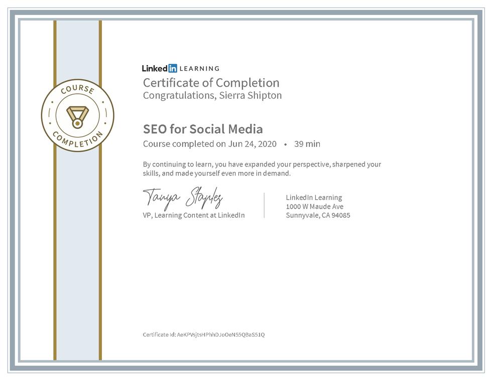 """LinkedIn Learning """"SEO for Social Media"""" Certificate"""