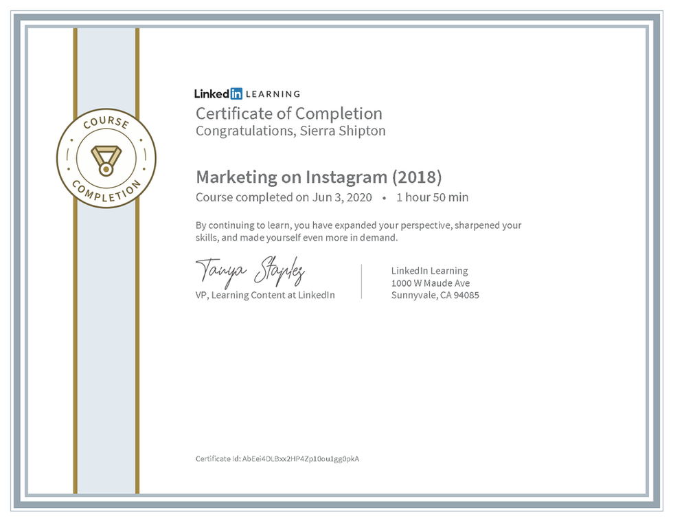 "LinkedIn Learning ""Marketing on Instagram (2018)"" Certificate"