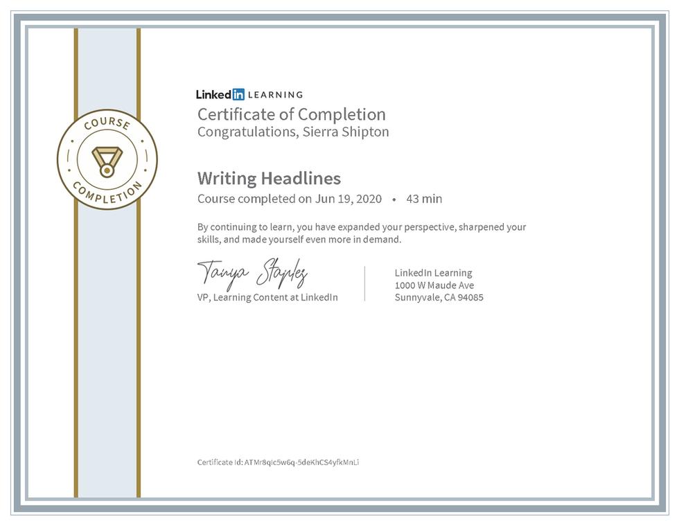 "LinkedIn Learning ""Writing Headlines"" Certificate"