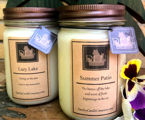 Lazy Lake Candle, Summer Patio Candle, DEN Soy Candle Company