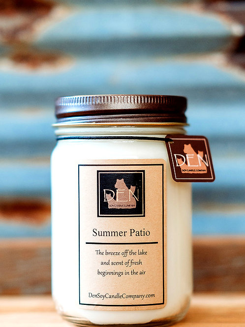 Summer Patio, 12 Ounce Soy Candle, DEN Soy Candle Company