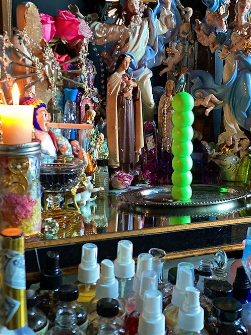Seven Knob Candle - NEON GREEN- Prosperity, Money Draw, Attraction, or Fast Luck