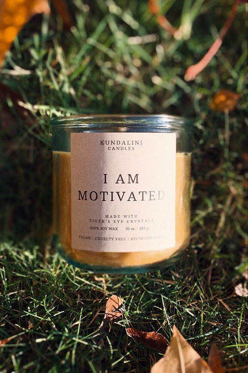 I AM MOTIVATED - Tiger's Eye Crystal Soy Candle- Powerful Motivation Candle