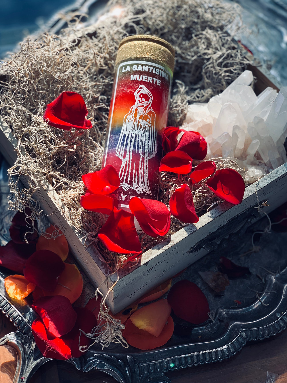 Santa Muerte Fixed Candle- Grants Miracles, Fidelity, Good Fortune