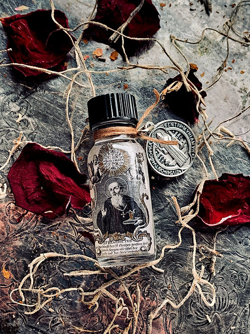 St. Benedict Oil & Blessed Charm- Protector From Witchcraft, Illness, Sickness, hoodoo, spells, witchcraft, conjure,