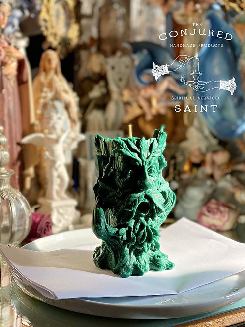 Green Man Ritual Candle-  Guardian Of Earth Energies, Sacrificial Mysteries