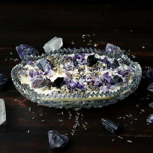 Vintage Ashtray Amethyst Crystal Candle, Soy Candle, Healing Candle