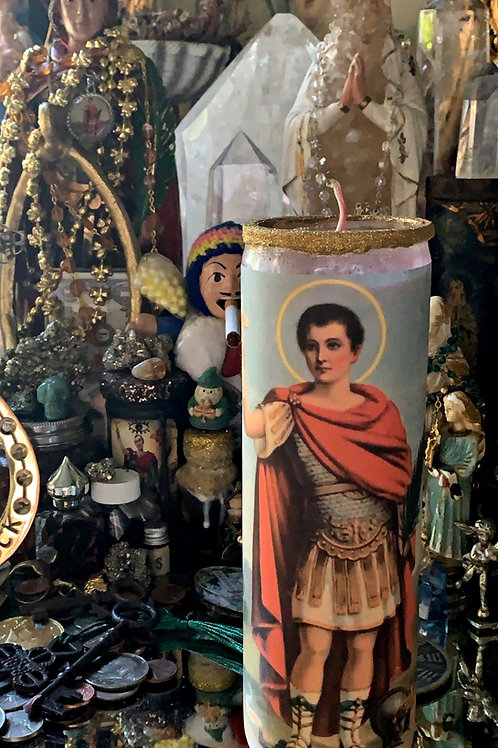Saint Expedite Ritual Hoodoo 7 Day Candle- Fast Luck, Prompt Solutions