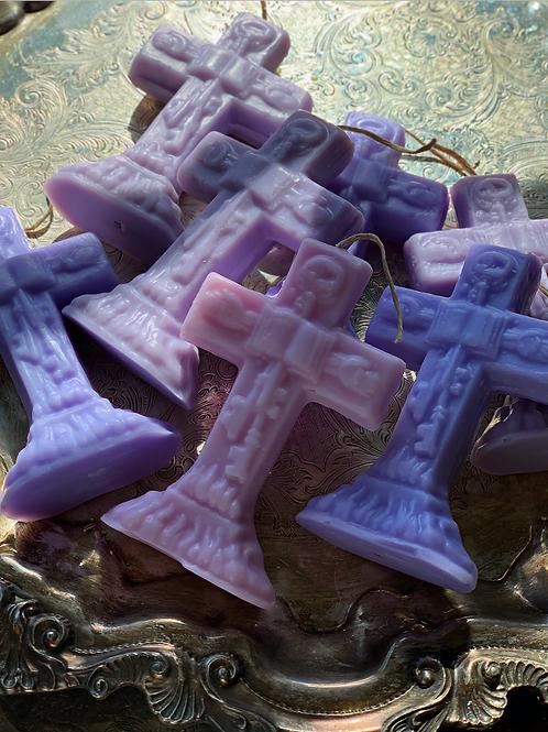 Majestic Purple Master Key Crucifix Candle- Conjure Your Wishes, Rulership