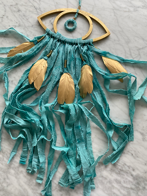 Evil Eye Wall Hanging Talisman- Gold & Teal- Home Protection