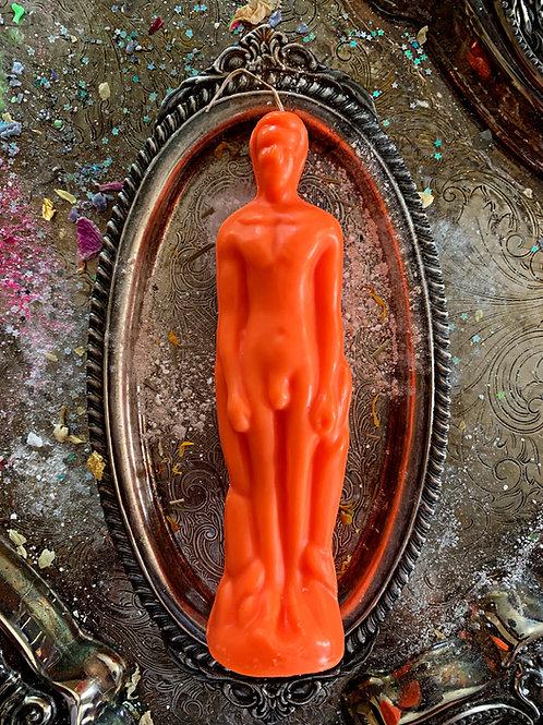 Orange Male Figure Candle- Open Roads, Renewal, Success, Luck